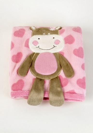 Girls Pink Hippo Blanket