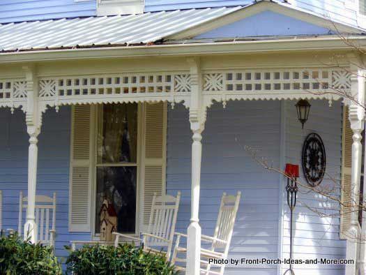 Pretty  Victorian farmhouse running porch trim via Front-Porch-Ideas-and-More.com #porch