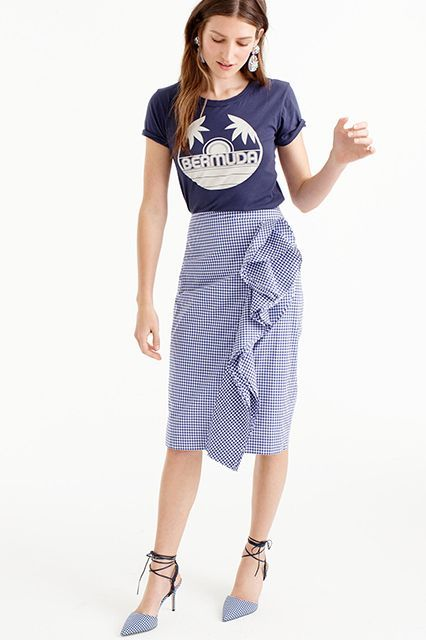 These J.Crew Items Are FIRE  #refinery29  http://www.refinery29.com/2016/06/114391/j-crew-summer-clothing-2016#slide-12  Honestly my favorite of the bunch, this skirt will look good with your favorite old tee (as pictured here). Thomas Mason for J. Crew Ruffle Skirt, $158, available at J.Crew. ...