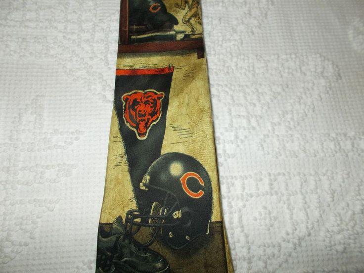 Chicago Bears Eagle Wings Tie 100% Silk NFL Football Helmet Pennant Player   #NFL #Tie