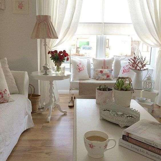 Idee per arredare un soggiorno in stile shabby chic Idee