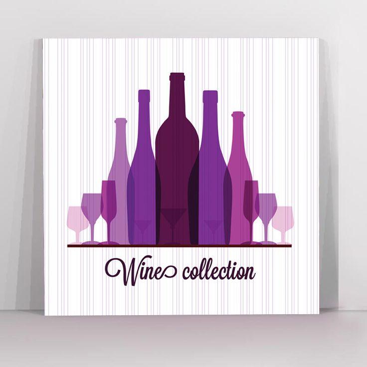 Πίνακας σε καμβά μπουκάλια κρασιού