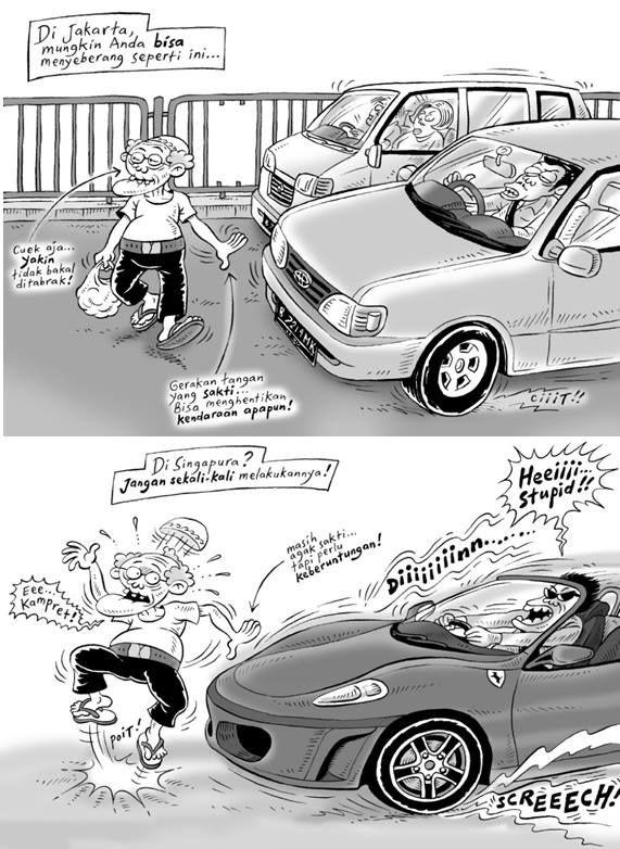 Kartun Benny, Tiga Manula: Perbedaan Jakarta & Singapura