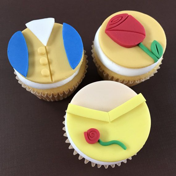 12 Beauty and the Beast Cupcake Toppers-Fondant