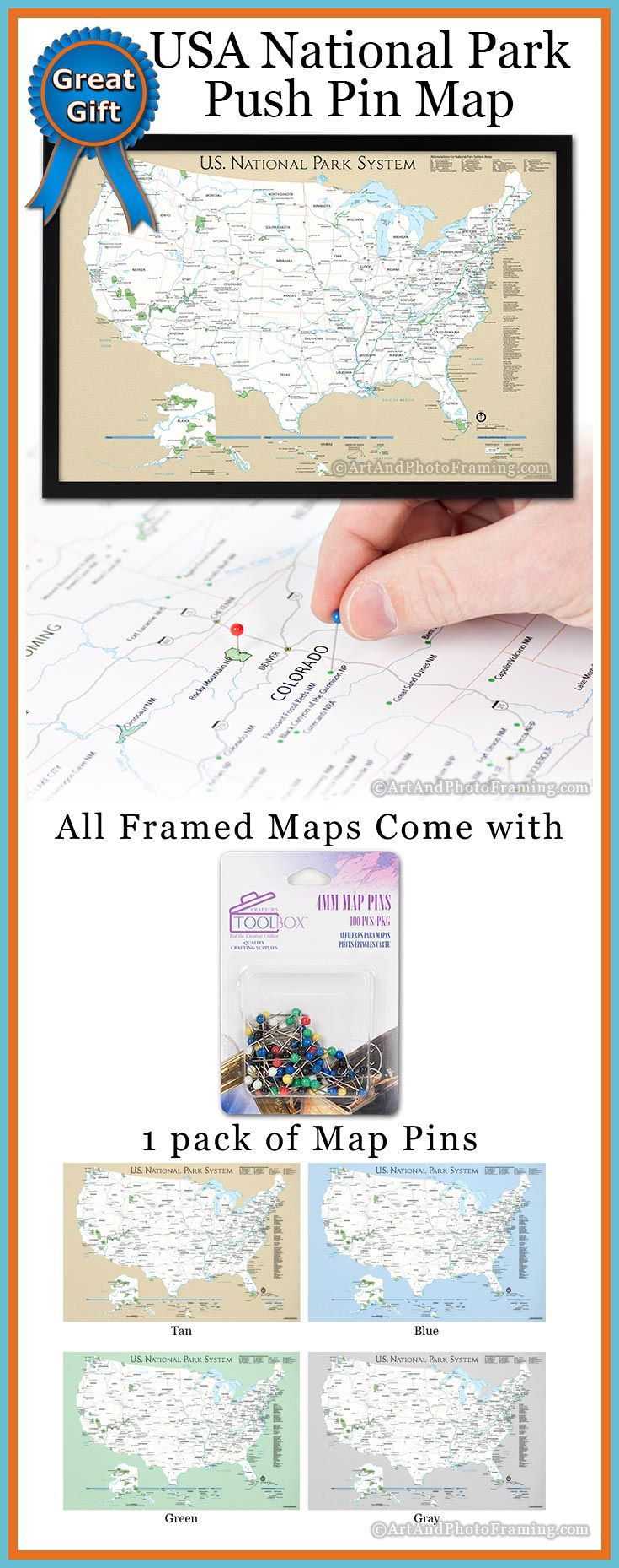 US National Park System Push Pin Map. Great gift for the world traveler or house warming gift. #pushpinmap