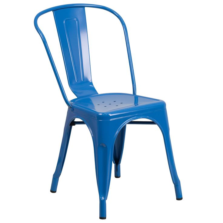 Flash Furniture Blue Metal Indoor-Outdoor Stackable Chair [CH-31230-BL-GG]