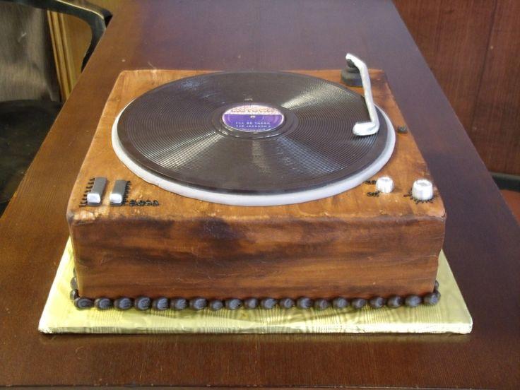 Retro Turntable Record Player Birthday Cake Baby