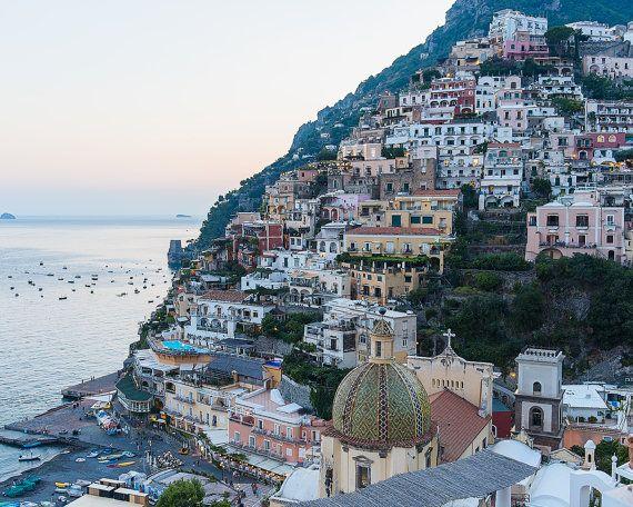 Italy Beach Photograph, Positano Print, Positano Wall Art, Amalfi Coast Photo, Italy Large Wall Art, Positano Houses