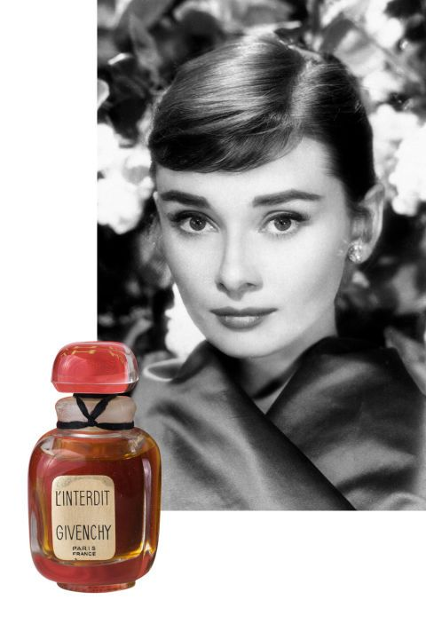 """14 iconic women and the fragrances they loved: Created specially for Audrey Hepburn by Hubert de Givenchy, L'Interdit—which means """"forbidden"""" in French—was created in 1957. Rumors spread that Audrey didn't want Givenchy to release the scent, but it was ultimately made available for wide purchase in the 1960s. A floral aldehyde, L'Interdit's notes include bergamot, rose, jasmine, iris, violet, narcissus, and sandalwood. In later years, Audrey wore Creed Spring Flower, another scent created…"""