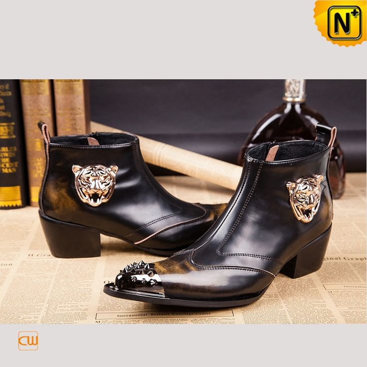 www.cwmalls.com PayPal Available (Price: $225.89) Email:sales@cwmalls.com; Pointed Toe Brushed Leather Ankle Boots for Men CW750122 - Handsome top designer pointed toe ankle boots for men features with genuine brushed leather upper, metal rivet pointed toe and metal tiger decorated on the side, our western short dress ankle boots gives you the look that gets noticed.