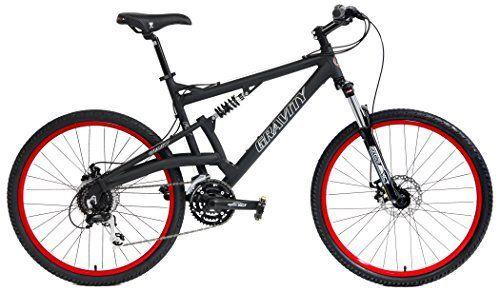 2016 Gravity FSX 2.0 Dual Full Suspension Mountain Bike Shimano Acera Suntour (Matt Black with Red Wheels, 17inch) - http://www.bicyclestoredirect.com/2016-gravity-fsx-2-0-dual-full-suspension-mountain-bike-shimano-acera-suntour-matt-black-with-red-wheels-17inch/