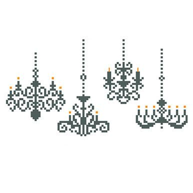 Chandeliers set PDF counted cross stitch by galabornpatterns :: master br wall