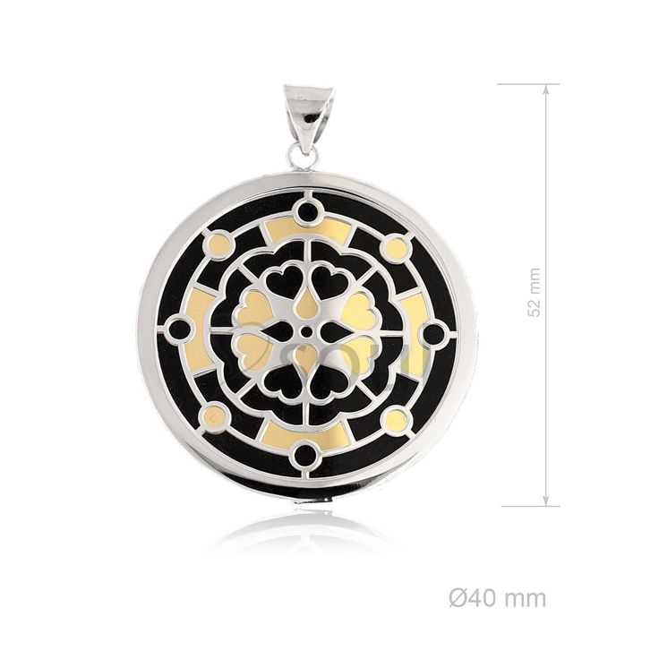 REF. 361024. Colgante Mandala. Colgante con nácar u ónix en plata de Ley.