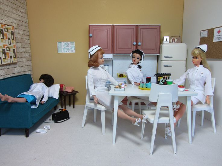 1960's Barbie Hospital Break Room Diorama