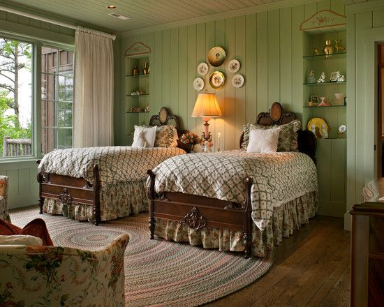 Victorian Cottage - Painted Wood Paneling on Walls and Ceiling