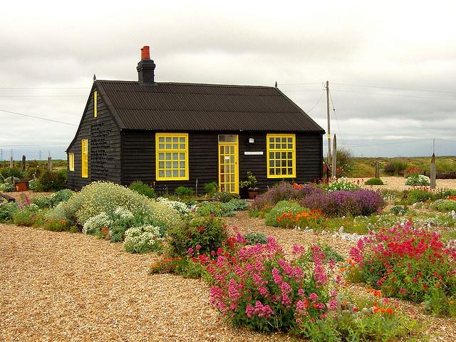 Derek Jarman's garden in Dungeness Kent - A masterpieceDerek Jarman, Windows Frames, Dungeness Kent, Black House, Black Cottage, Jarman Gardens, Beautiful Gardens, Charcoal Black, Yellow Windows