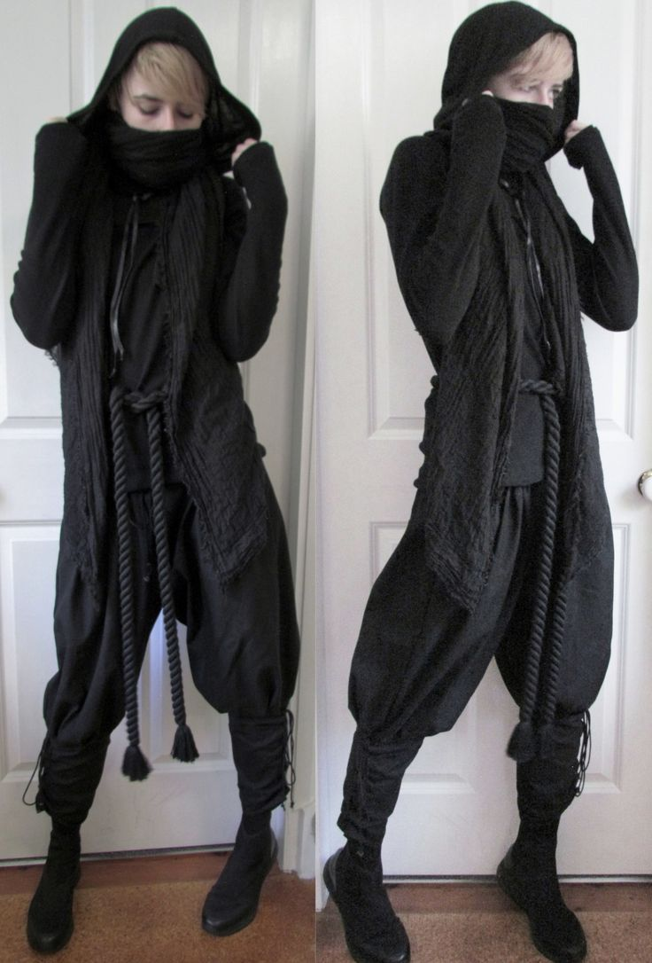 """crowrunner: """"""""~Nightfury ninja~ """" Cropped hood is from Lip Service Belt is from BytheR Neoprene high-top sneakers from Vagabond Top and scarf are second hand Pants are unbranded """""""