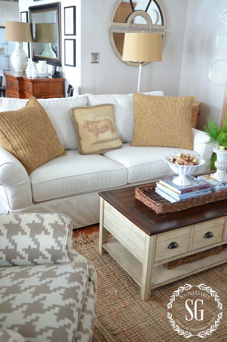 And new family room sofa couch makeoverloveseat slipcoversvignettepottery barn couchfamily roomsliving
