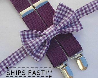 Plum Suspenders & Eggplant Purple Bow Tie Ring Bearer by armoniia