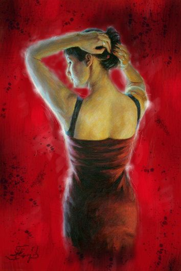 Buying THIS painting Get a unique painting Free!!! Original Oil Painting Flamenco Dancer - Large Size - Tango Passion Dancer - Latin Woman Dancing