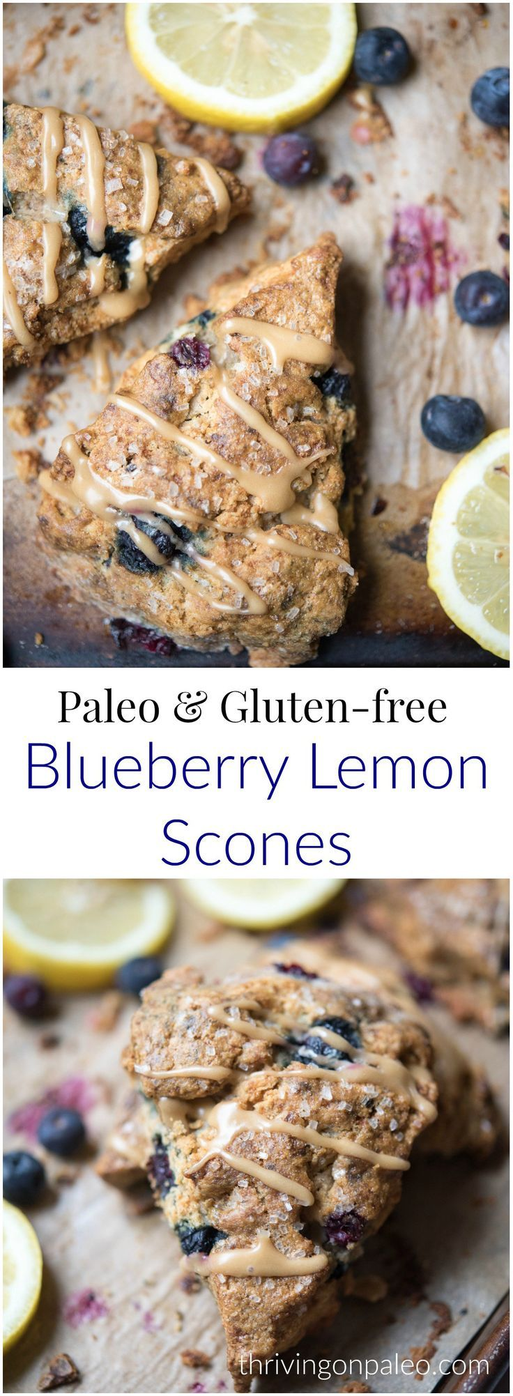 Blueberry Lemon Scones - a Paleo, gluten-free, and grain-free breakfast or snack recipe that is flaky and buttery, especially with the irresistible lemon glaze! #paleobreakfastrecipes #paleoscones