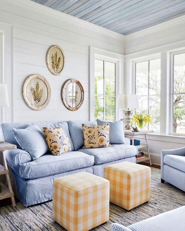 We Re Loving This Happy Color Pair That S Perfect For Summer Shop Our Denim Rag Rug Via Living Room Design Inspiration Home Decor Living Room Scandinavian