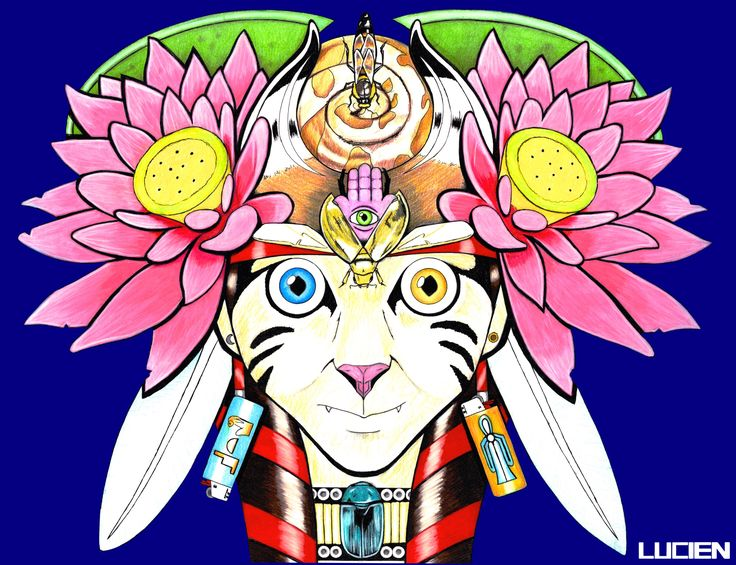 """The Goddess""  #Goddess #Lotus #Pink #Scarab #Lighter #Feather #Beatle #Wings #Necklace #Cat #ThirdEye #3rdEye #CinnamonRoll #Moon #Sun #WaterLily #Bee #Queen #QueenBee #Horns #PigTails #EarRings"