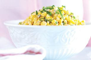 Grilled Corn with Spicy Lime Mayo ~ 4 ears Corn, husks  silk removed • ¼C Mayo • 2T grated Parmesan • 1 Green Onion, chopped • 4t Lime Juice • ½t Red Pepper (Cayenne) ~ Reviewers' changes: Use frozen corn; 1:1 ratio mayo to butter; add fresh Cilantro; sub Old Bay