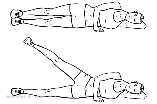 lying side leg lifts    lateral raises    hip abductors