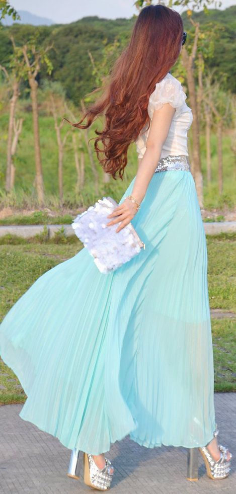Mint Blue Maxi & Lace Top <3