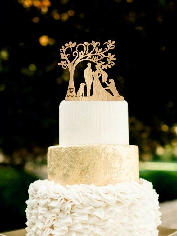 rustic wood wedding cake toppers wedding cake topper with dogs silhouetee wedding cake 19600