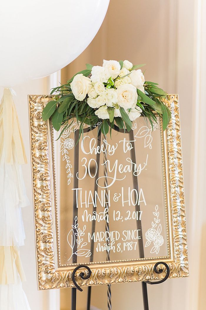 Glass framed party sign from an Elegant Spring Anniversary Party on Kara's Party Ideas | KarasPartyIdeas.com (22)