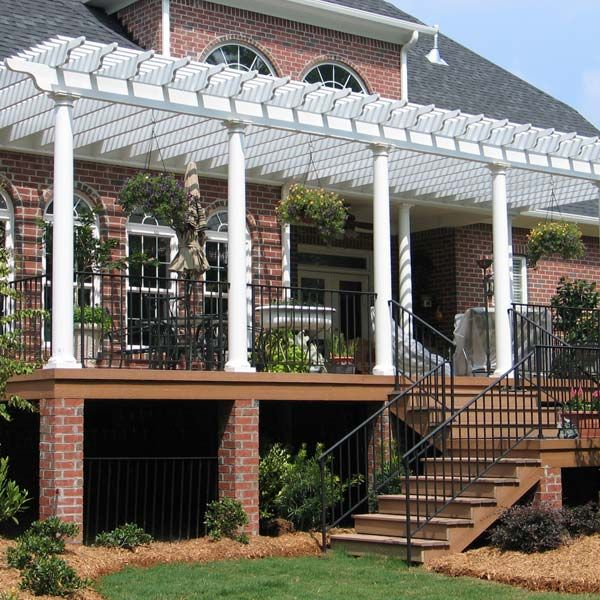 113 best images about pergola ideas on pinterest outdoor for Deck trellis