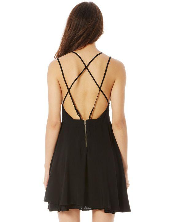 Strappy Back Swing Dress, BLACK                                                                                                                                                                                 Mais