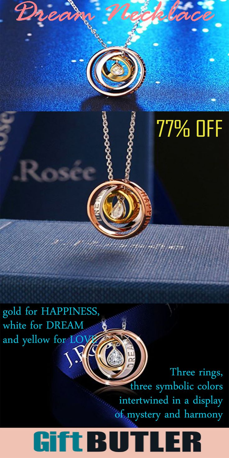 Great Gift for Her. Three rings, three symbolic colors intertwined in a display of mystery and harmony, the color of rose gold for HAPPINESS, white for DREAM and yellow for LOVE.