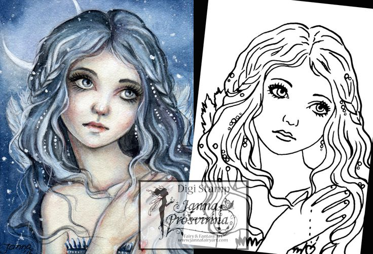 Digital Stamp, Printable, Instant download, Digi stamp, Coloring page, Art of Janna Prosvirina by Jannafairyart on Etsy