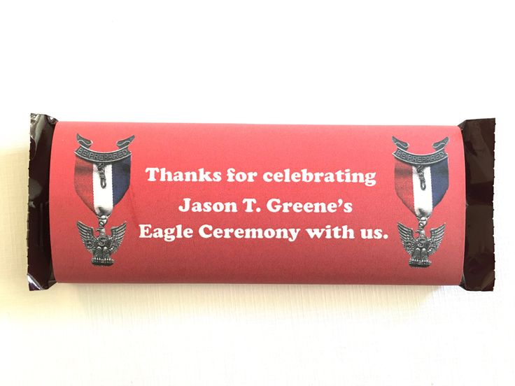 Personalized Eagle Scout Candy Bar Wrapper Double Eagle Pins on Red // Eagle Scout Court of Honor // Eagle Scout Ceremony by LAGCraftStudio on Etsy