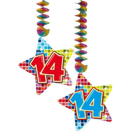 Hangdecoratie sterren 14 jaar. Hangdecoratie in de vorm van sterretjes met het getal 14. De decoratie is verpakt per 2 stuks en is ongeveer 13,3 x 16,5 cm groot.