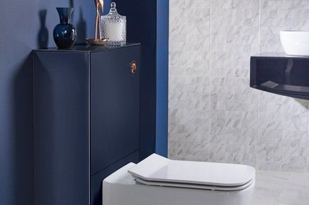 Opula Toilet Unit  Available with or without push button operated cistern. Glass surround with co-ordinating fascia.