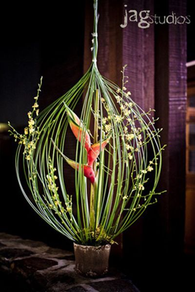 Textural enclosure, use a plastic base. Bird of paradise and orchids. Slightly smaller for $75.00