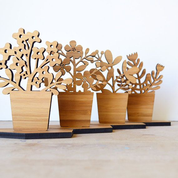 Small Houseplant Wood Ornament Style C by decoylab on Etsy