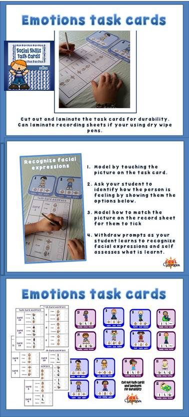 Social Skills Task cards for students with Autism, an exciting tried and test activity! This product offers students with autism the opportunity to practice identifying facial expressions and emotions as well as verb recognition. Also a great resource for vocabulary practice.