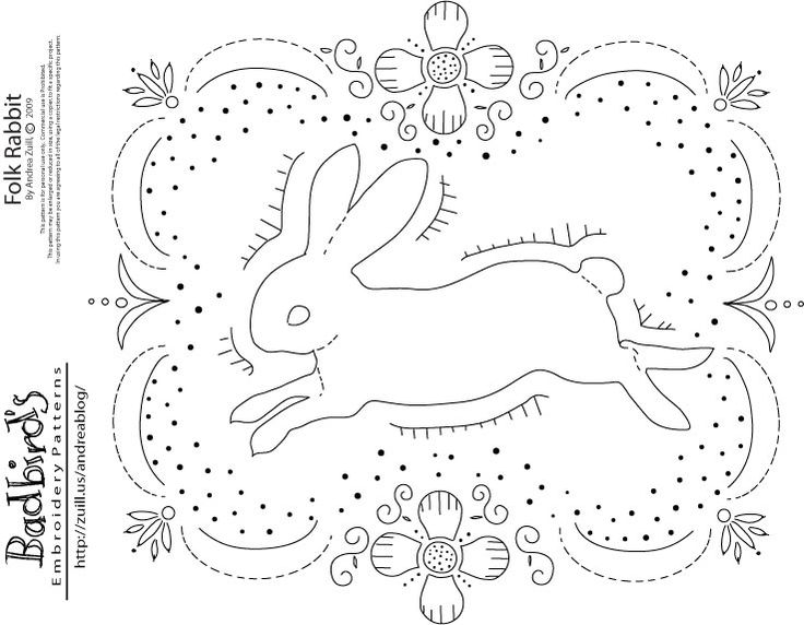Folk Rabbit, embroidery pattern by Andrea Zuill