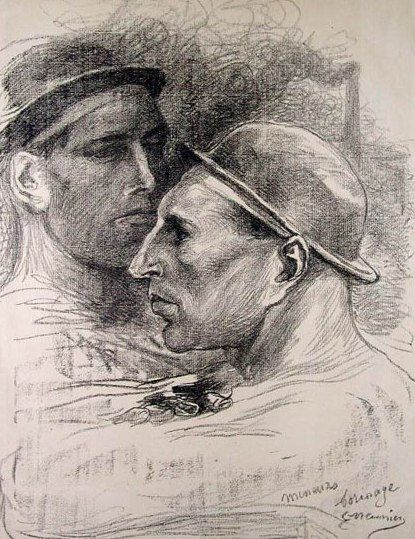 Drawing by Belgian artist - Constantin Meunier  (12 April 1831 – 4 April 1905),  painter and sculptor, was born in a working class district of Etterbeek, Brussels