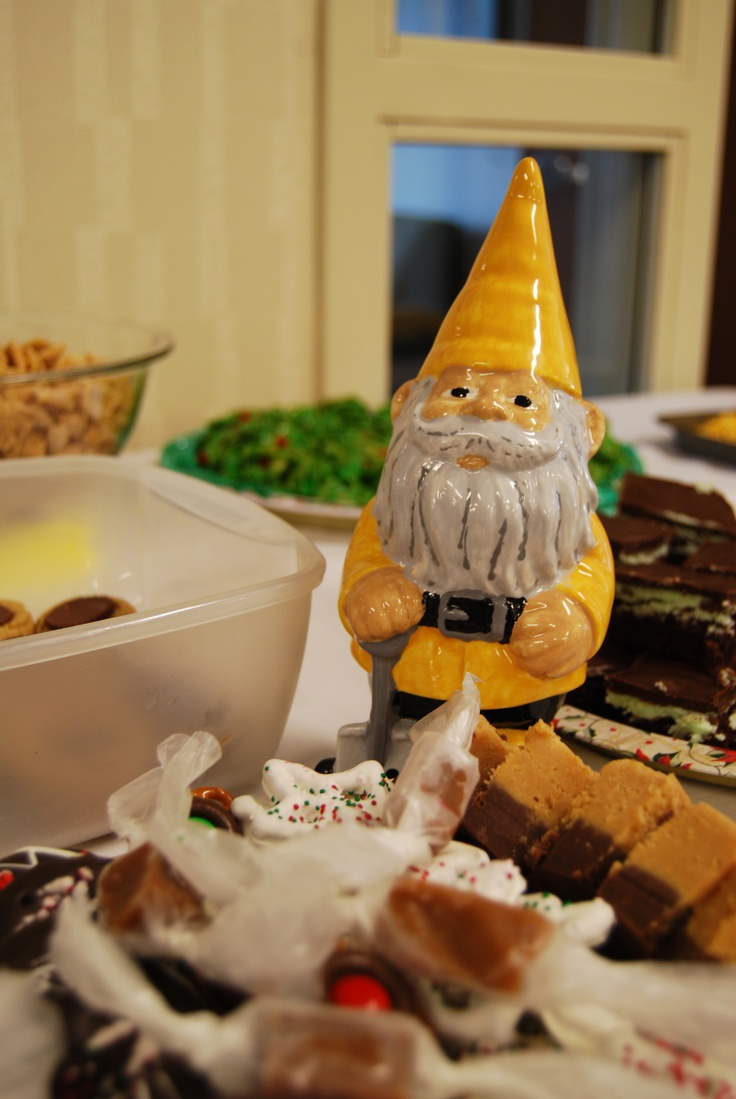Kevin The Gnome Helps Himself To Desserts At The Manchester University  Office Of Admissions Holiday Reception