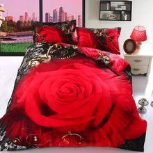 100% ALGODÃO conjuntos de cama 4 pcs 3d impresso rosas vermelhas preto tampa de cama lençol para cama queen size doona duvet quilt roupas de cama roupa de cama(China (Mainland))