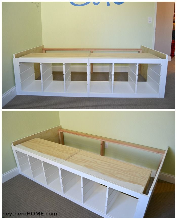 Love this IKEA hack twin storage bed perfect for toy storage. Step by step tutorial and supplies list includes a tip on how you can make this bed without a saw!