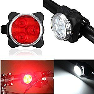 LED #Bike #Light #Set, Cycling Headlight and Taillight, 2 USB Cables Included, 4 Light Modes, 140lm, Water Resistant, Front and Rear Bicy