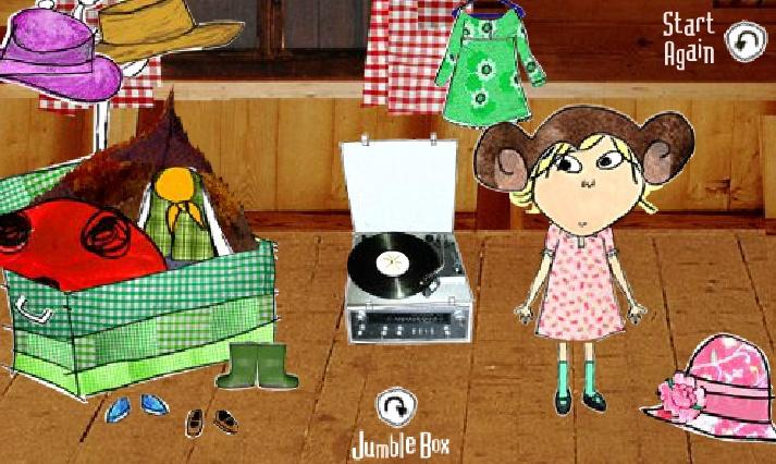 Dressing up. Een engels spelletje. Gebruik de kleren uit de verkleedkist om Charlie en Lola aan te kleden.