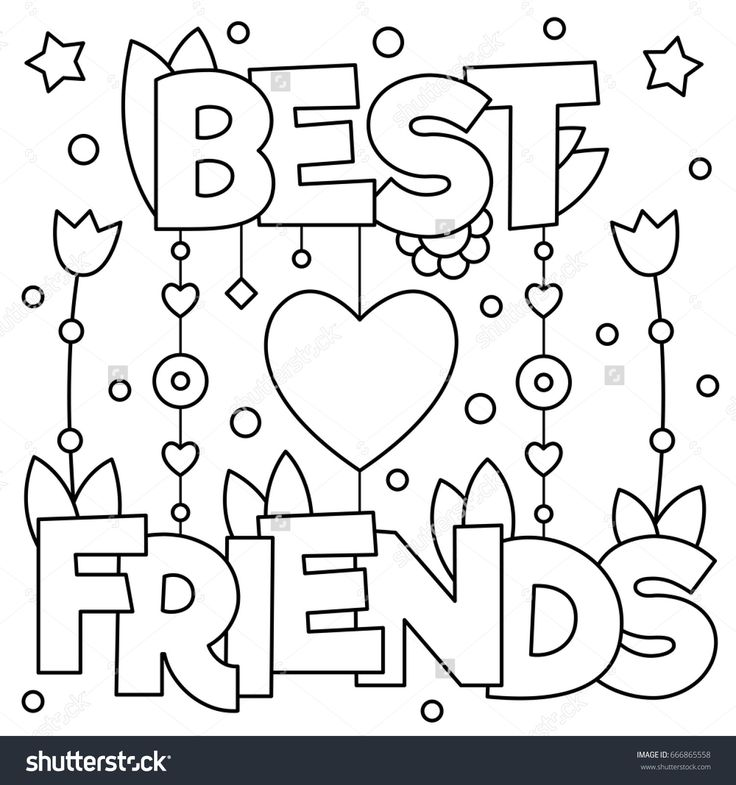 Best friends. Coloring page. Vector illustration ...